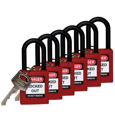 "Brady® Nylon Shackle 1.5"" Safety Locks - Keyed Differently"