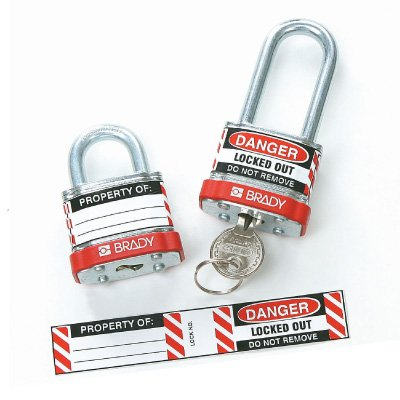 Brady Steel Padlock Vinyl Labels - Danger Locked Out Do Not Remove (50280) - 6PK