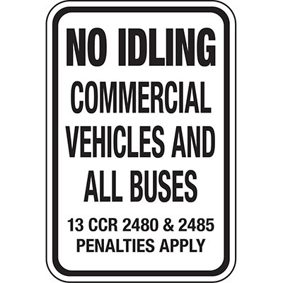 California Traffic & Parking Signs - No Idling Commercial Vehicles & Buses