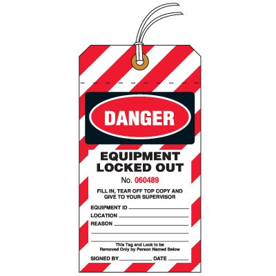 Danger Equipment Locked Out Safety Tag