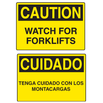 OSHA Caution Signs - Watch For Forklifts - English or Spanish
