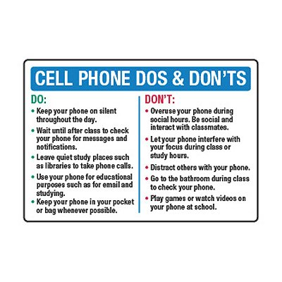 cell phone dos and don'ts  cell phone policy signs