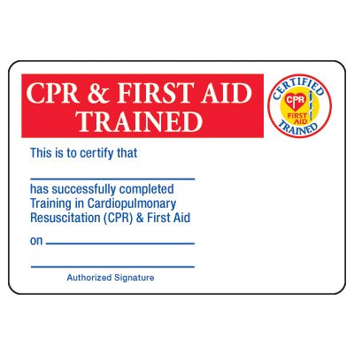 Certification Photo Wallet Cards - CPR & First Aid Trained