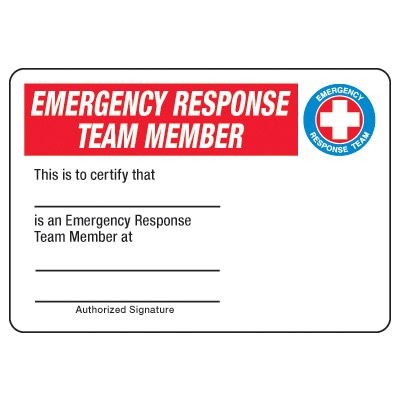 Certification Photo Wallet Cards - Emergency Response Team Member