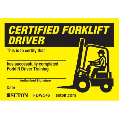 Certification Wallet Card - Certified Forklift Driver