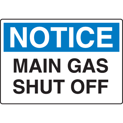 Chemical & HazMat Signs - Main Gas Shut Off
