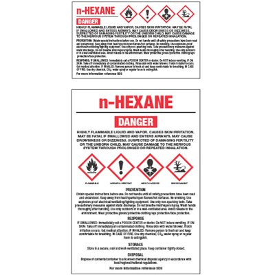 Chemical GHS Labels - N-Hexane