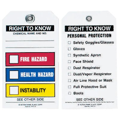 "Chemical Hazard Tags - Right to Know (3-1/4"" x 5-5/8"")"