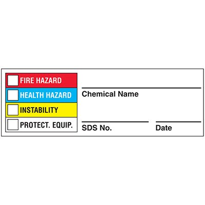 Chemical Hazard Warning Labels- NFPA Color Bar Format