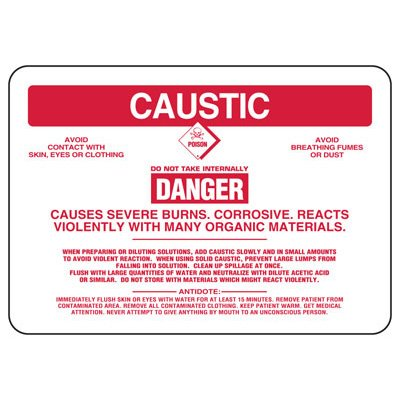 Caustic Danger Causes Severe Burns - Chemical Sign