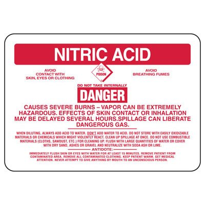 Nitric Acid Danger Causes Severe Burns - Chemical Sign
