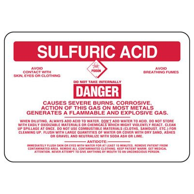 Sulfuric Acid Danger Causes Severe Burns - Chemical Sign