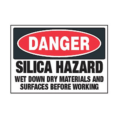 Chemical Label - Danger Silica Hazard Wet Down Dry Materials
