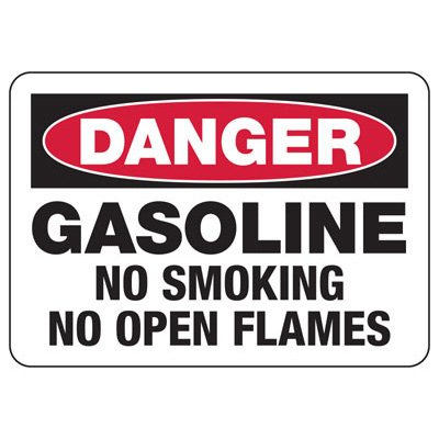 Chemical & HazMat Signs - Gasoline No Smoking No Open Flames
