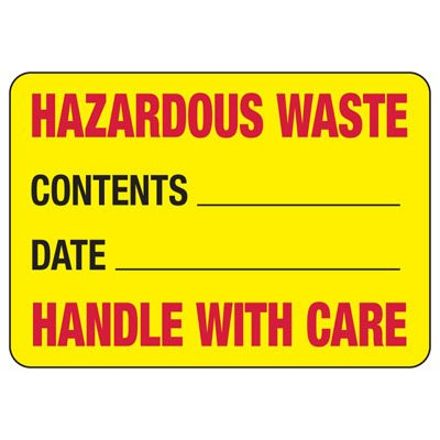 Hazardous Waste Handle With Care - Chemical Warning Sign