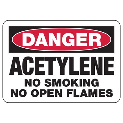 Danger Acetylene No Smoking - Industrial Chemical Warning Sign