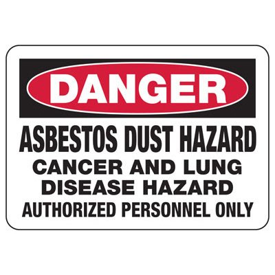 Danger Asbestos Dust Hazard - Industrial Chemical Warning Sign