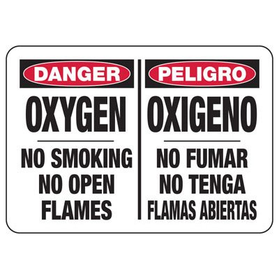 Bilingual Oxygen No Smoking - Industrial Chemical Warning Sign