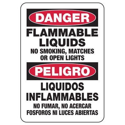 Bilingual Danger Flammable - Industrial Chemical Warning Sign