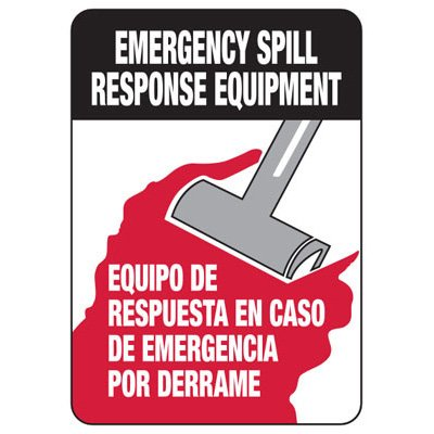 Bilingual Emergency Spill Response Equipment - Chemical Warning Sign