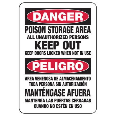 Bilingual Danger Poison Storage - Industrial Chemical Warning Sign