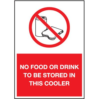 Cold Adhesion Safety Labels - No Food Or Drink To Be Stored In This Cooler (W/ Graphic)