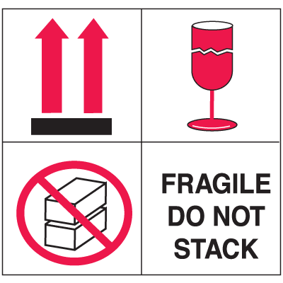 Fragile Do Not Stack Combination Shipping Labels