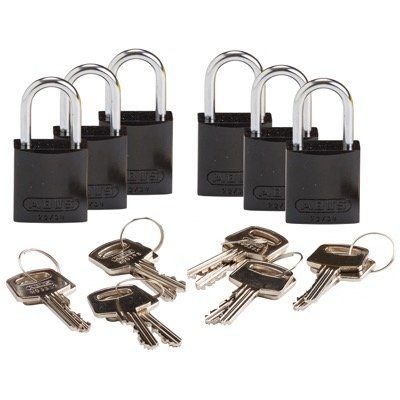 Brady Compact Keyed Different 1 inch Shackle Aluminum Padlocks - Black - Part Number - 133266 - 6/Pack