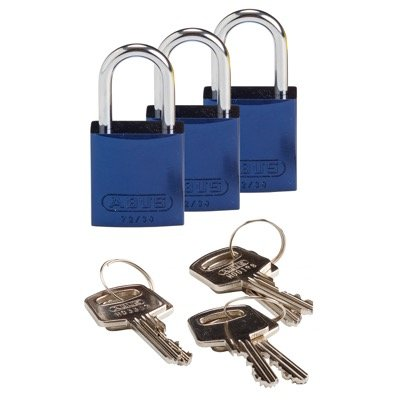 Brady Compact Keyed Alike 1 inch Shackle Aluminum Padlocks - Blue - Part Number - 133280 - 3/Pack