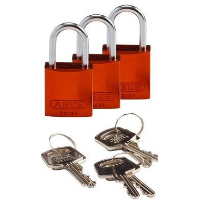 Brady Compact Keyed Alike 1 inch Shackle Aluminum Padlocks - Orange - Part Number - 133283 - 3/Pack