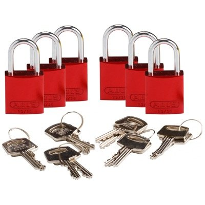 Brady Compact Keyed Different 1 inch Shackle Aluminum Padlocks - Red - Part Number - 133261 - 6/Pack