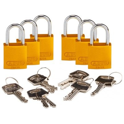 Brady Compact Keyed Alike 1 inch Shackle Aluminum Padlocks - Yellow - Part Number - 133291 - 6/Pack