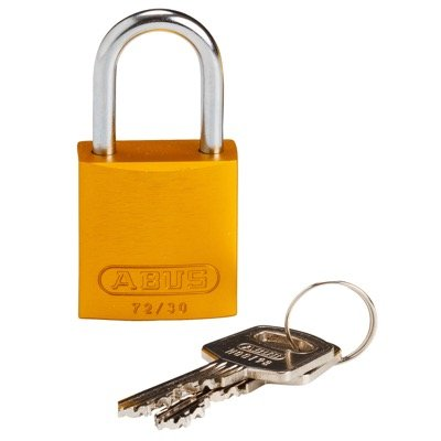 Brady Compact Keyed Different 1 inch Shackle Aluminum Padlocks - Yellow - Part Number - 133273 - 1/Each