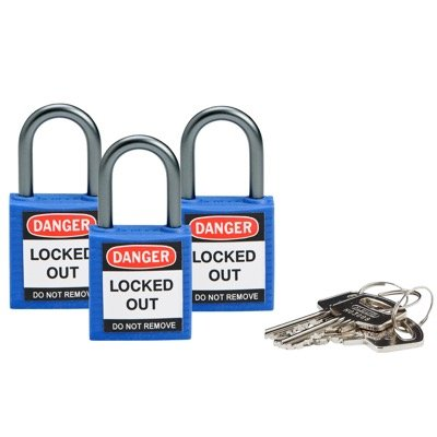 Brady Compact Keyed Alike 1 inch Shackle Safety Padlocks - Blue - Part Number - 118959 - 3/Pack