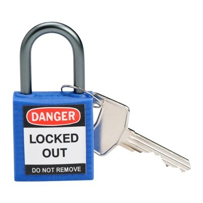 Brady Compact Keyed Different 1 inch Shackle Safety Padlocks - Blue - Part Number - 143156 - 1/Each