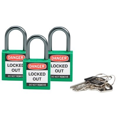 Brady Compact Keyed Alike 1 inch Shackle Safety Padlocks - Green - Part Number - 118955 - 3/Pack