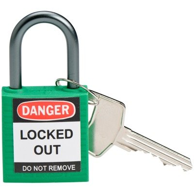 Brady Compact Keyed Different 1 inch Shackle Safety Padlocks - Green - Part Number - 143152 - 1/Each