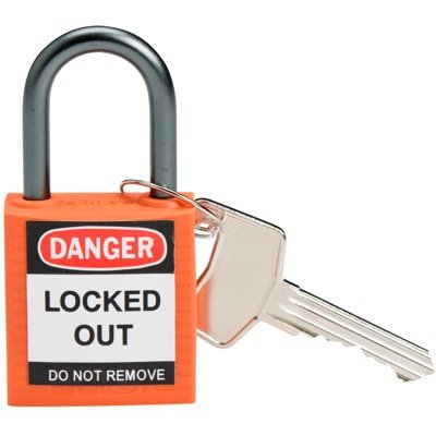 Brady Compact Keyed Different 1 inch Shackle Safety Padlocks - Orange - Part Number - 143154 - 1/Each