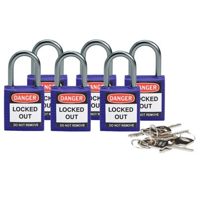 Brady Compact Keyed Alike 1 inch Shackle Safety Padlocks - Purple - Part Number - 118968 - 6/Pack