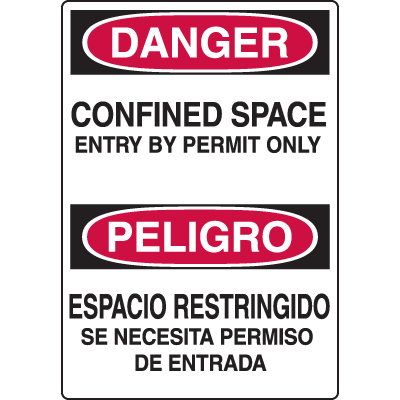 Confined Space Labels - Bilingual - Danger Confined Space Entry By Permit Only
