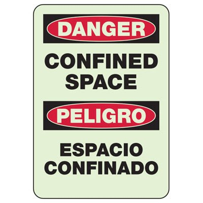 Danger Confined Space - Bilingual Industrial OSHA Machine Hazard Sign
