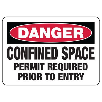Confined Space Signs - Danger - Permit Required Prior To Entry