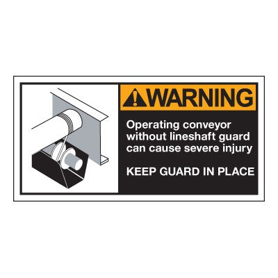 Conveyor Safety Labels - Warning Operating