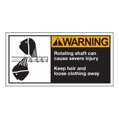 Conveyor Safety Labels - Warning Rotating