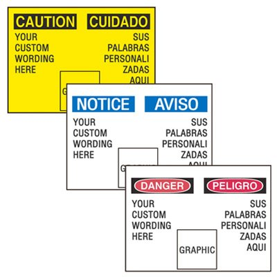 Custom Bilingual Graphic Safety Signs
