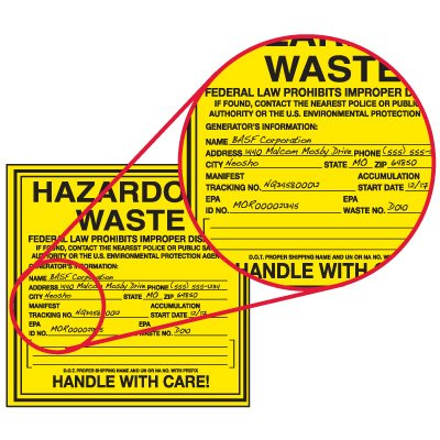 Custom Hazardous Waste Container Labels