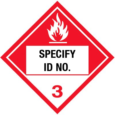 Custom Class 3 Flammable DOT Placard