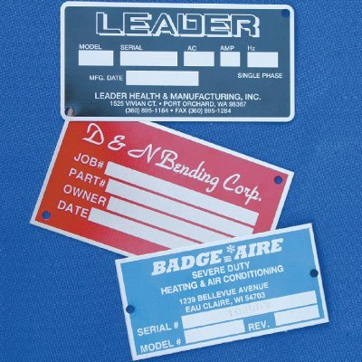 Custom Sized Screen Printed Equipment Nameplates