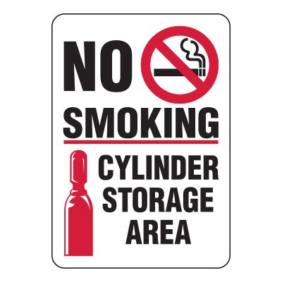 Cylinder Status Signs - No Smoking Cylinder Storage Area