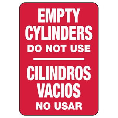 Bilingual Empty Cylinders - Industrial Cylinder Sign